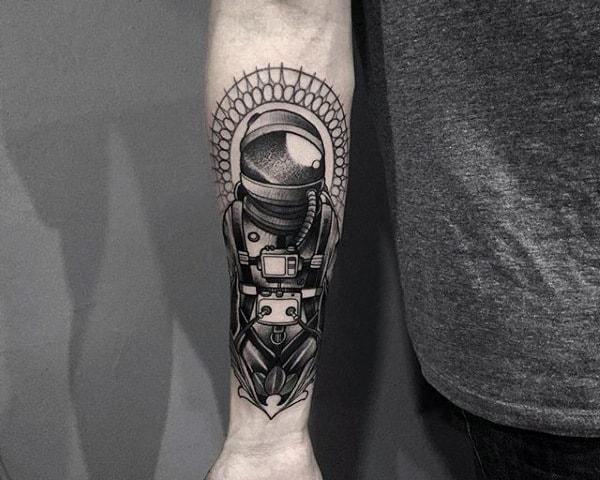 Monchrome Astronaut Tattoo For Guys Forearms