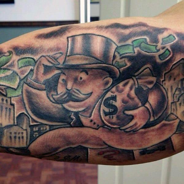 Money Bag Monopoly Man Tattoo For MEn