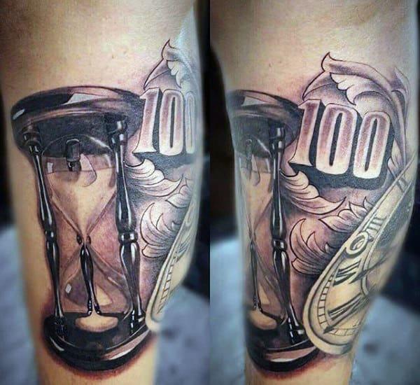 Money Hourglass Tattoos For Guys