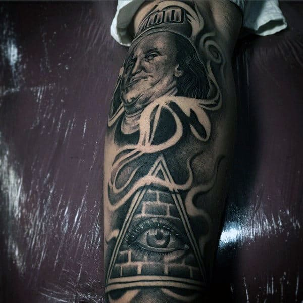 Money Pyramid Mens Leg Sleeve Tattoos