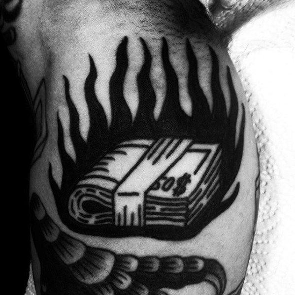 Money Roll With Flames Guys Traditional Old School Simple Arm Tattoos