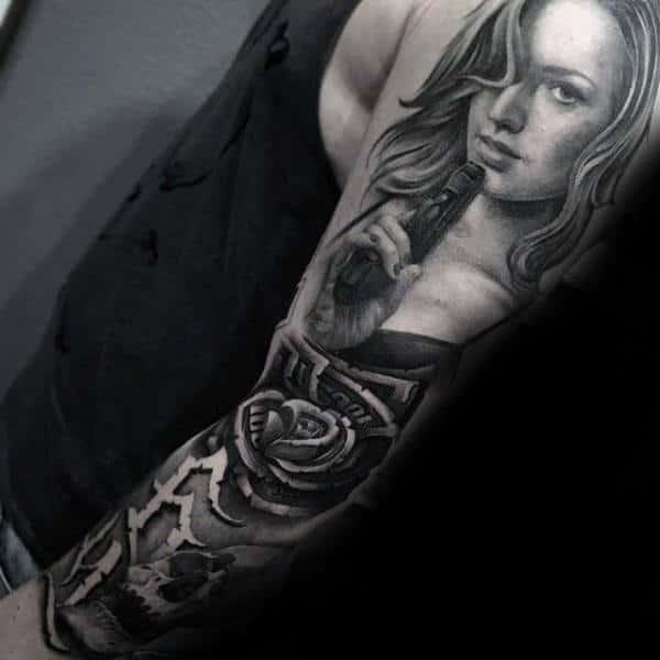 Money Rose Flower With Female Holding Gun Guys Chicano Sleeve Tattoo