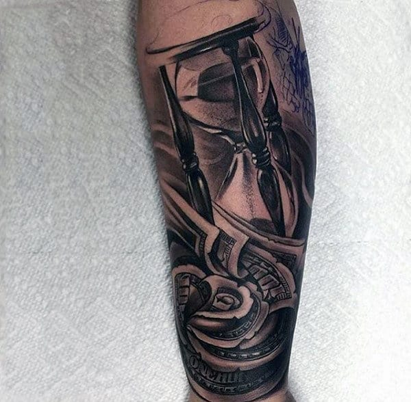 Money Rose Hourglass Realistic Mens Tattoos