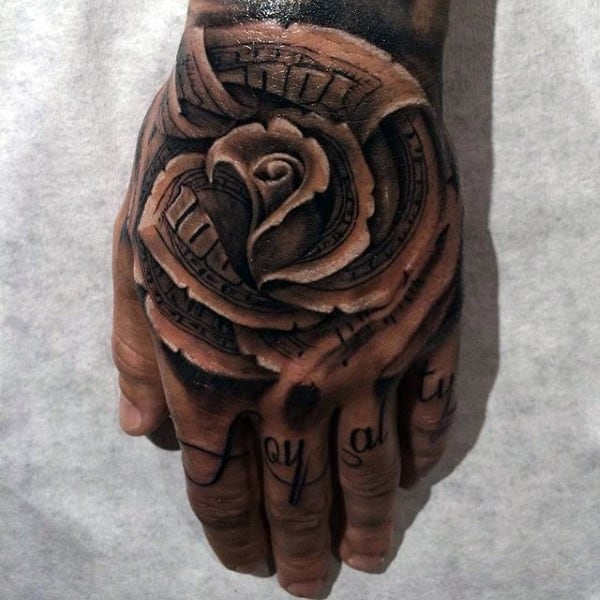Money Rose Loyalty Knuckle Mens Tattoos