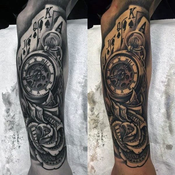 Money Rose With Playing Cards And Pocket Watch Tattoo For Guys Sleeve Design