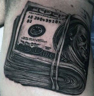 Money Tattoos Ideas For Men Rubber Band Stack