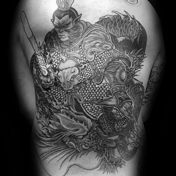 Monkey King Armor Mens Back Tattoos