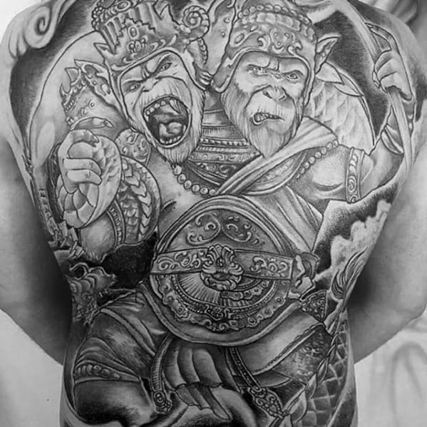 Monkey King Awesome Back Mens Tattoo Designs