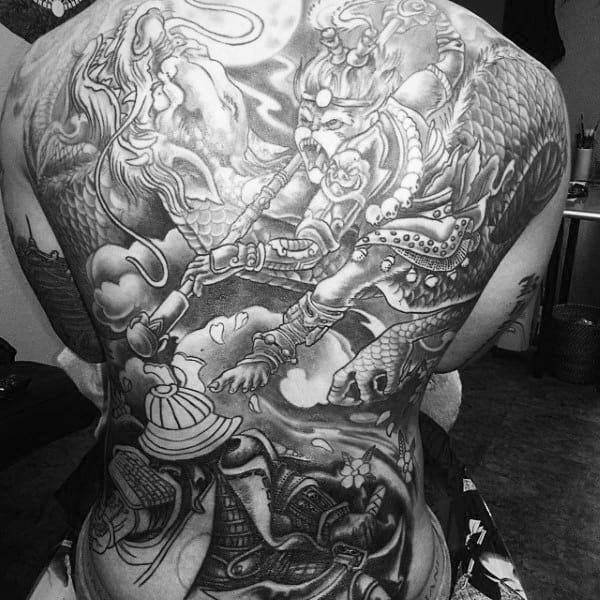 Monkey King Battle With Dragon Mens Full Back Shaded Tattoos