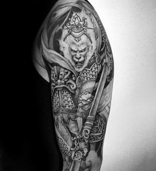 Monkey King Black And Grey Ink Male Shaded Half Sleeve Tattoo Design Ideas