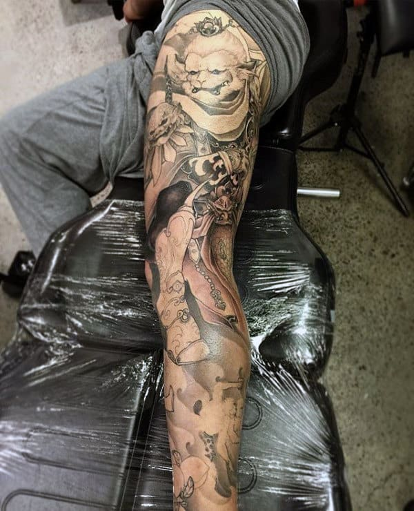 Monkey King Leg Sleeve Tattoos For Men