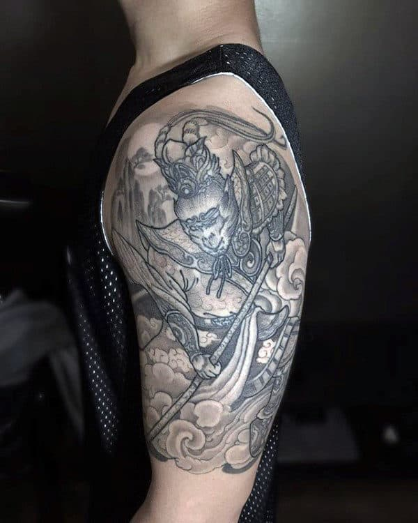Monkey King With Nature Background Mens Half Sleeve Tattoo Ideas