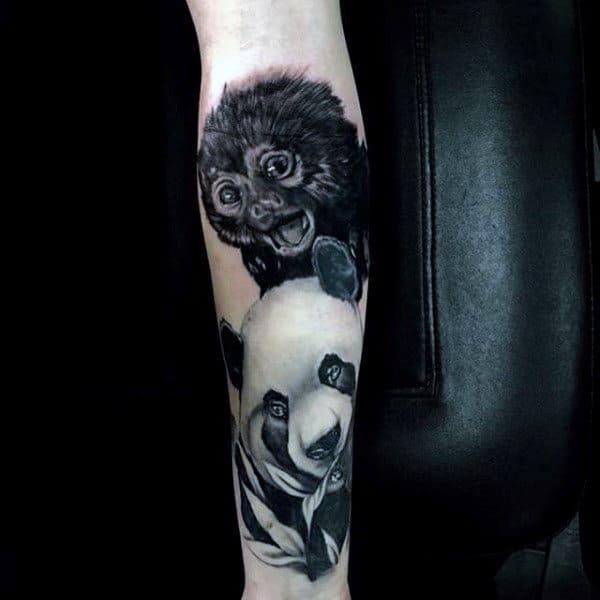 Monkey With Panda Bear Mens Forearm Tattoos