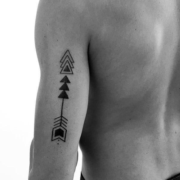 Monochrome Arrow Triangles Tattoo On Arms For Men