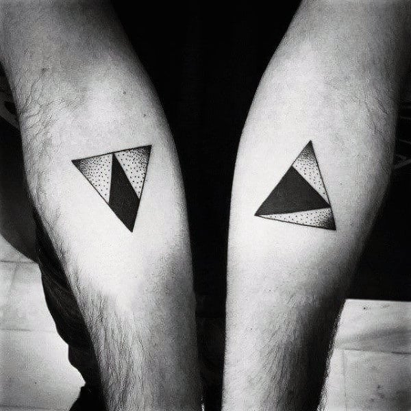 Monochrome Triangle Tattoo On Arms For Men