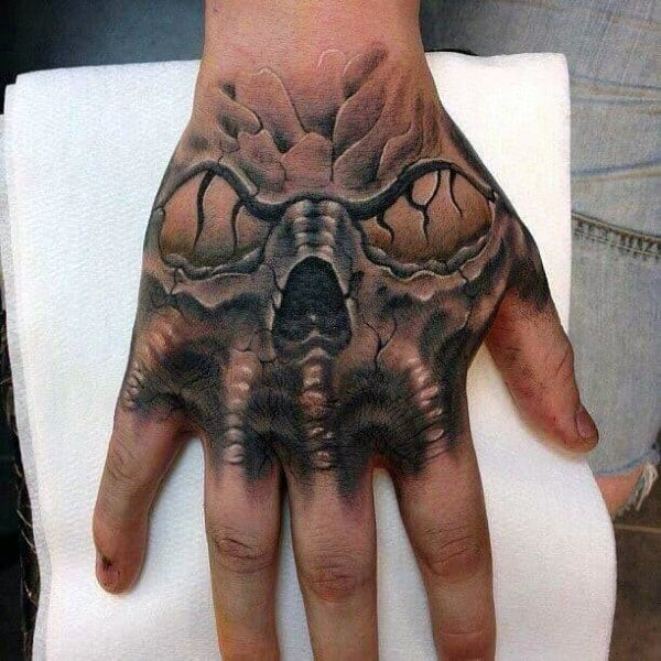Monster Skull Hand Tattoo For Men