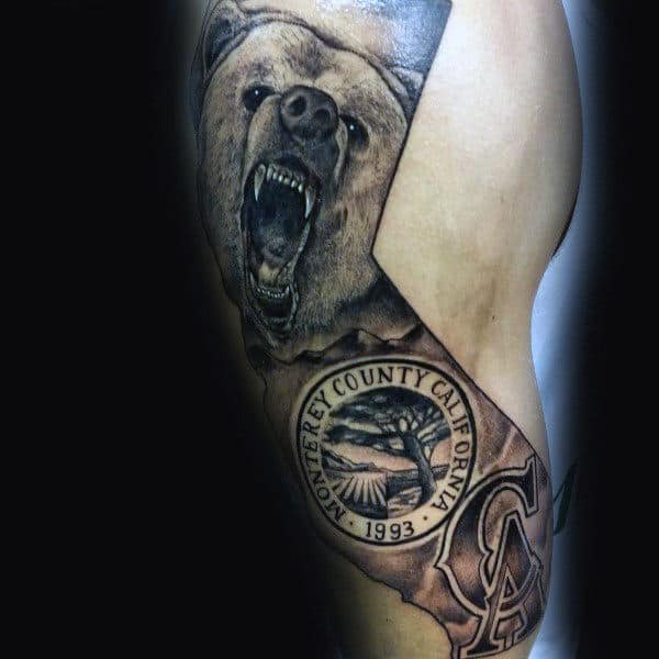 Monterey County California Bear Mens Arm Tattoos