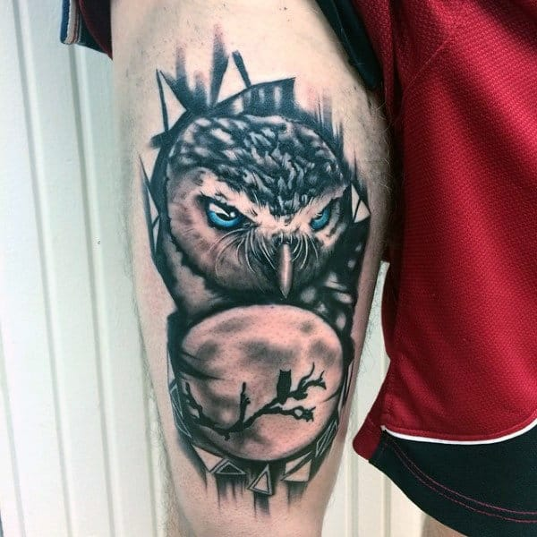 Moon And Owl Night Sky Guys Thigh Tattoos