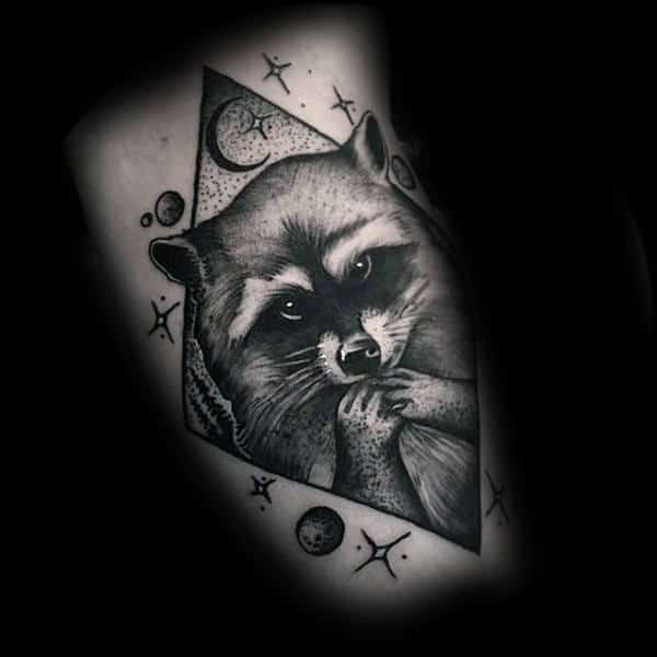 Moon And Stars Raccoon Dotwork Guys Tattoo Designs