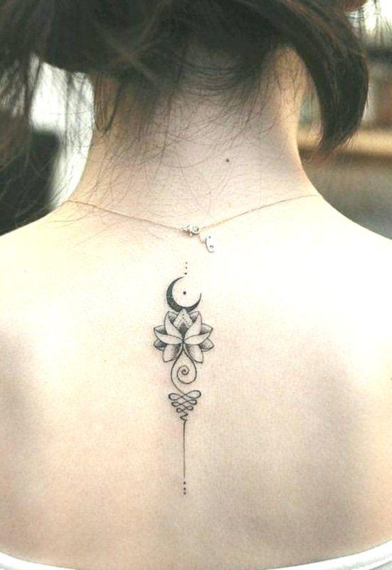 Moon Back Unalome Tattoo