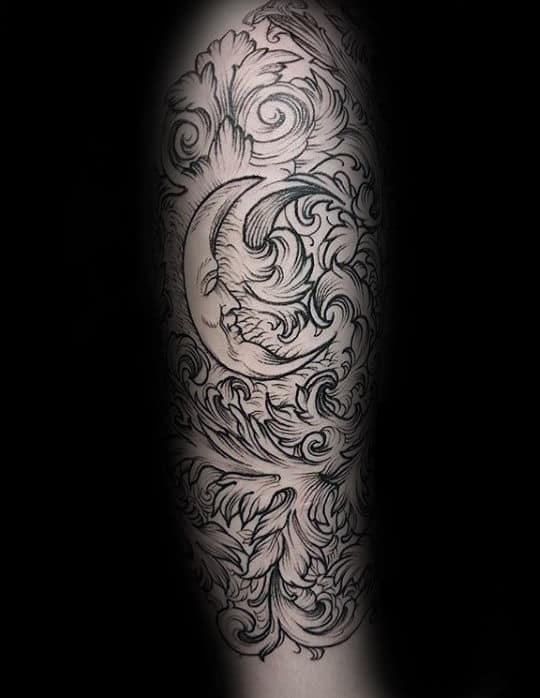 Moon Filigree Mens Sleeve Tattoos