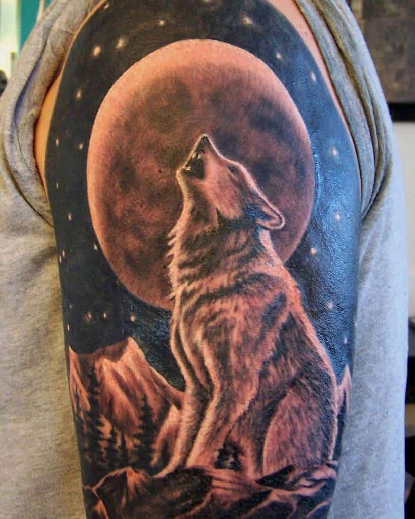 moon howling wolf tattoo blinkinkpgh