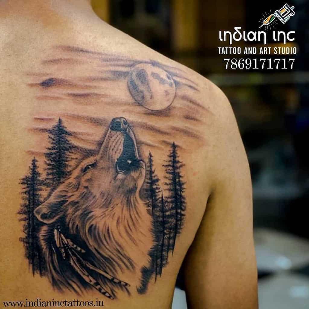 moon howling wolf tattoo harshbhanushali_tattooartis
