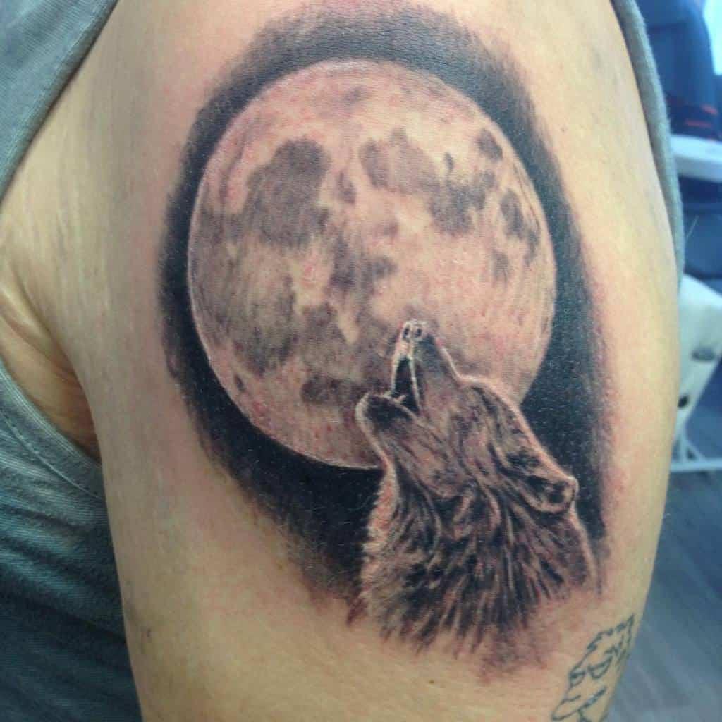 moon howling wolf tattoo m.moliis
