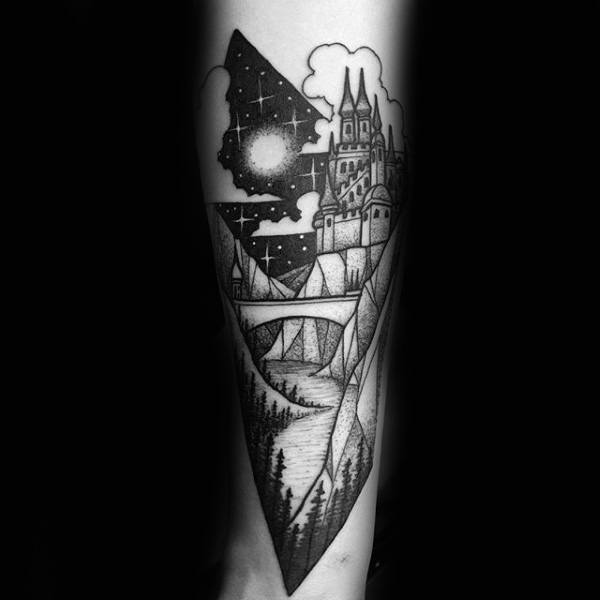 Moon Light And Stars Mens Castle Tattoo With Draw Bridge On Wrist