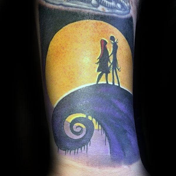 Moon Light Cliff Guys Jack And Sally Night Before Christmas Wrist Tattoo