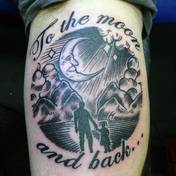 Moon Loving Dad And Daughter Family Tatoo Guys Forearms