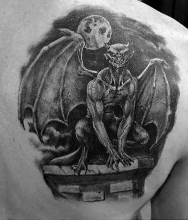 Moon Night Sky Gargoyle Mens Shoulder Blade Tattoos