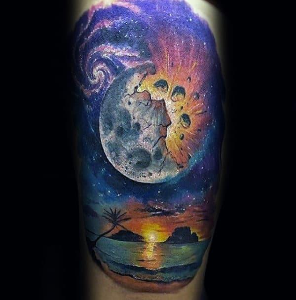 Moon Over Beach Artistic Mens Arm Tattoos