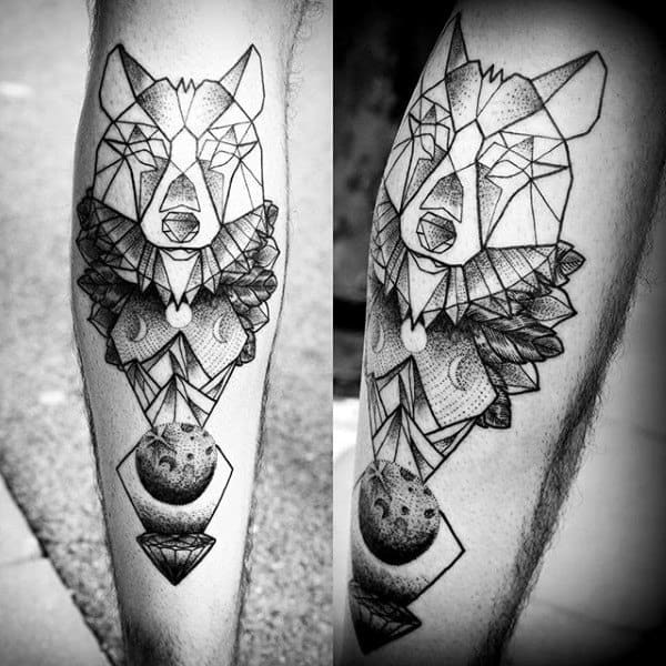 Moon Phase Male Geometric Wolf Leg Tattoo