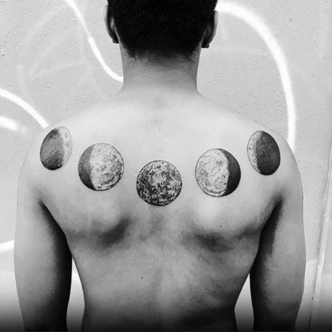 Moon Phases Male Back Tattoo Ideas
