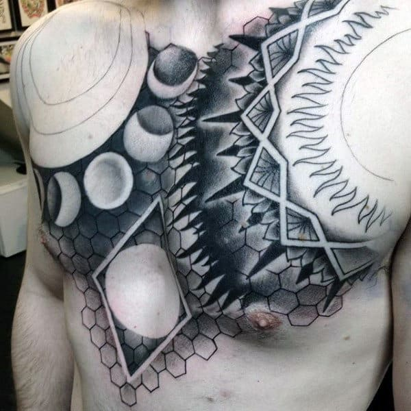 Moon Phases Pattern Male Chest
