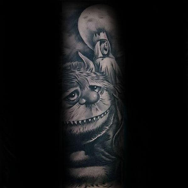 Moon Sky With Monsters Where The Wild Things Are Mens Sleeve Tattoo