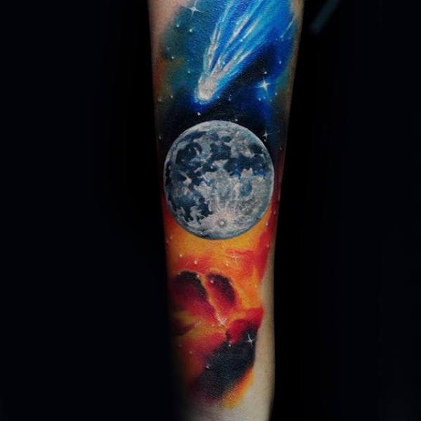 Moon With Asteroids Male Forearm Tattoos