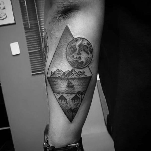 Moon With Beach Mens Small Outer Forearm Tattoos