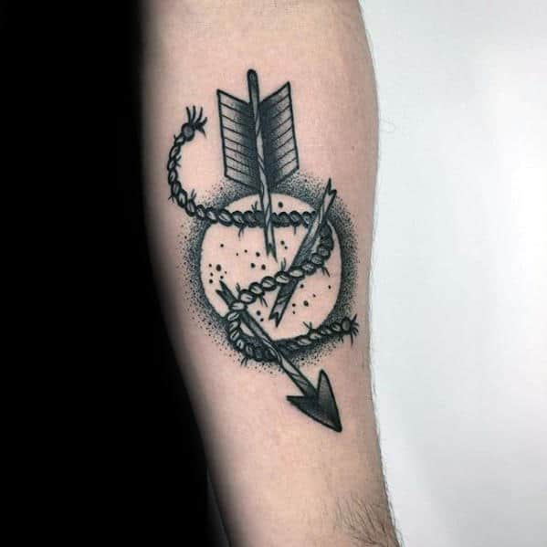 Moon With Broken Arroow Traditional Retro Male Inner Forearm Tattoo
