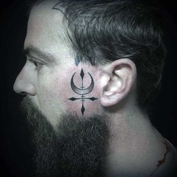 Moon With Cross Face Tattoos For Men