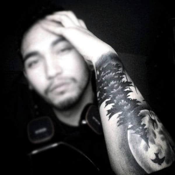 Moon With Pine Tree Forearm Sleeve Male Tattoos