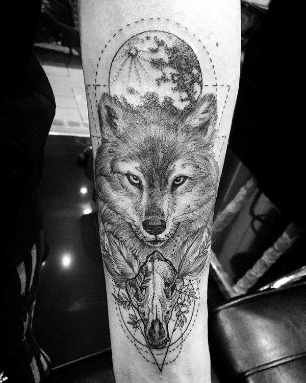 Moon With Wolf Skull Guys Inner Forearm Tattoo