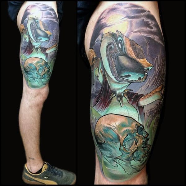 Moonlit Night New School Tattoo Male Thighs