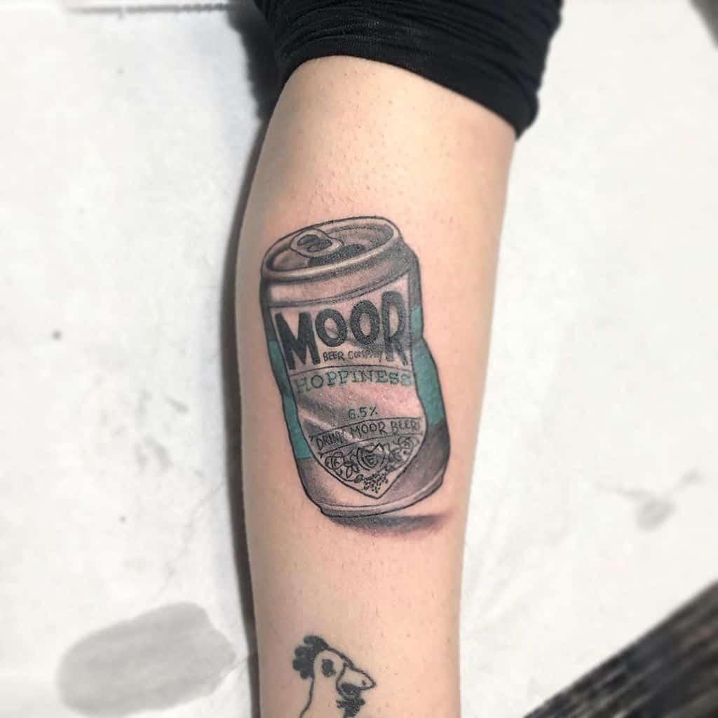 Moor Hoppiness Beer Can Leg Tattoo