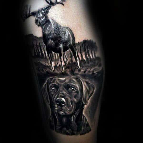 Moose With Dog Realistic Mens Leg Tattoos