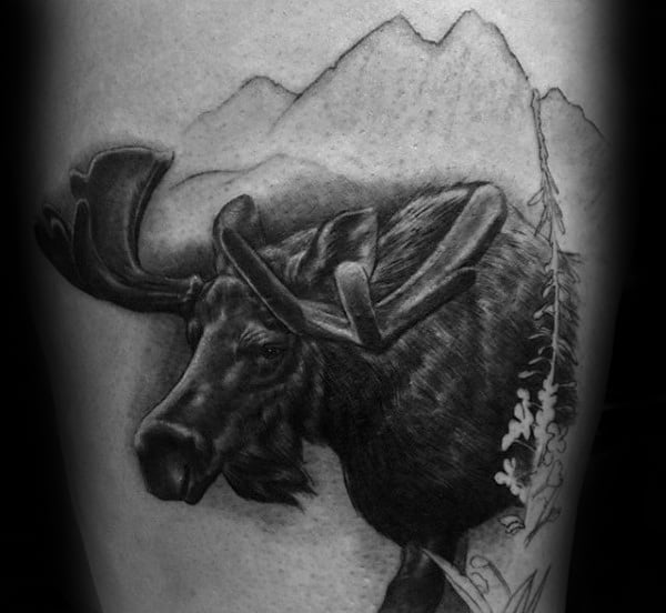 Moose With Mountains Male Arm Tattoo Design Inspiration
