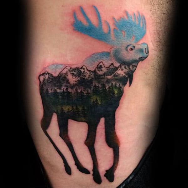 Moose With Mountains Rib Cage Side Tattoos For Guys