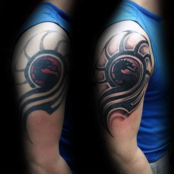 Mortal Kombat Logo Mens Upper Arm Tattoos