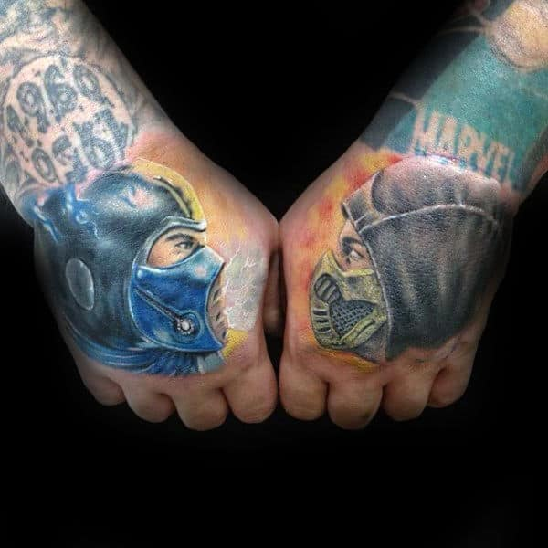 Mortal Kombat Mens Hand Tattoos